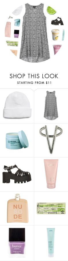 """""""WALK AWAY LIKE YOU DO"""" by greek-tragedy ❤ liked on Polyvore featuring Topman, Monki, The Body Shop, The 2 Bandits, Windsor Smith, Lalique, COSTUME NATIONAL, Butter London and Aveda"""