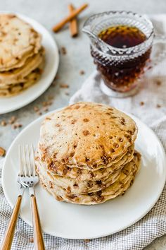 These Cinnamon Chip Pancakes are easily THE BEST homemade pancakes you'll ever eat! #saltandbaker #pancakes #homemadepancakes #breakfastrecipes #pancakerecipe #buttermilkpancakes