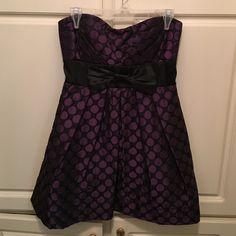 Cute Polka Dot Strapless Dress Polka Dot Black and Purple dress. Strapless. Worn Once Speechless Dresses Strapless