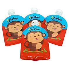 Frolino Quetschies im 4er Pack | wiederverwendbare Quetschbeutel | BPA & PVC frei | Kostenlose Rezepte | Ideal für Früchte-Brei und Smoothies | Doppel-Zipper | Leicht zu säubern | keine Ecken