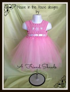 Crochet baby dress with lined tulle bottom. 18M $60