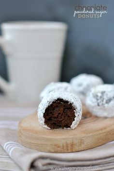 Chocolate Powdered Sugar Donut Holes - Shugary Sweets