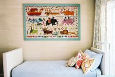 that noah's ark wall art is fabulous.  loving the bed too.
