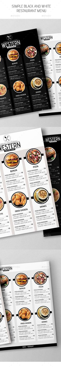 Simple Black & White Restaurant Menu - #Restaurant #Flyers Download here: https://graphicriver.net/item/simple-black-white-restaurant-menu/15838291?ref=artgallery8