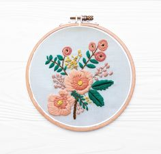 Excited to share this item from my #etsy shop: Peach Bouquet embroidery kit #pink #embroideryproject #peachflowers #floralart #floralwallart #peoniesonsunday Peach Bouquet, Peach Flowers, Wooden Hoop, Floral Wall Art, Embroidery For Beginners, Star Patterns, Embroidery Kits, Rainbow Colors, Biodegradable Products