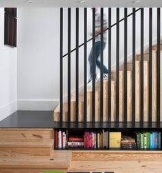 """Modern Texas Farmhouse by Patrick Ousey - Modern Farmhouse i.- Modern Texas Farmhouse by Patrick Ousey – Modern Farmhouse in Austin, Texas A modern, gabled home in Austin is designed to feel like a """"leftover railroad house that had been repurposed. Staircase Railings, Staircase Design, Stair Design, Staircase Ideas, Wood Stairs, Banisters, Staircases, Banister Ideas, Wood Railing"""