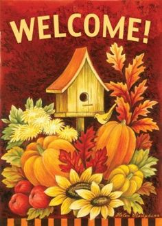 Toland Home Garden Fall Birdhouse 28 x Decorative USA-Produced Double-Sided House Flag. This Fall Birdhouse Double-Sided House Flag is a high-quality, brilliant and bold flag with which to decorate your home! Fall Garden Flag, Autumn Garden, Garden Flags, Autumn Painting, Tole Painting, Fall Paintings, Outdoor Flags, Outdoor Decor, House Flags