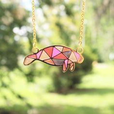 Pink Manatee 24kt Gold Plated Necklace