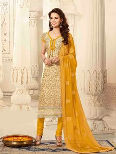 Cream Chanderi Suit with Embroidery Work