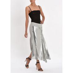 Paco Rabanne Silver Metallic Long Skirt (56,515 MXN) ❤ liked on Polyvore featuring skirts, paco rabanne, elastic waistband skirt, floor length skirt, silver metallic skirt and long straight skirt