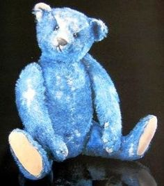 Elliott.....Rare Steiff Blue Bear ...In my imaginary world he would be mine. A Place of honor he would have in my home. A Beloved family member ~ <3 ~