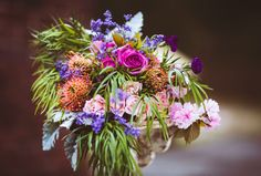 Pink and purple rose bridal bouquet