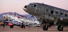 Street art revives ancient airplanes.