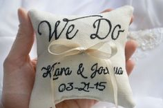 Personalized Wedding ring pillow  we do by SpecialEmbroideryKT