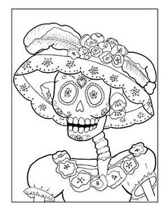 La Catrina Coloring Pages – Coloring for every day Day Of The Dead Drawing, Day Of The Dead Diy, Mexico Day Of The Dead, Skull Coloring Pages, Animal Coloring Pages, Coloring Book Pages, Coloring Sheets, Skull Template, Free Adult Coloring
