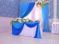 Президиум на свадьбу для молодых в голубой и синей гамме цветов | Оформление банкетного зала на свадебное торжество