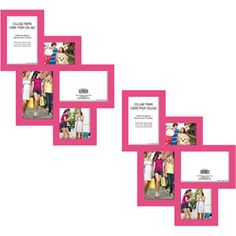 5 opening collage photo frames pink set of 2