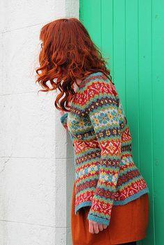 Ravelry: Hedgerow knitting pattern jacket by Ann Kingstone Punto Fair Isle, Motif Fair Isle, Fair Isle Pattern, Fair Isle Knitting, Hand Knitting, Vintage Knitting, Knitting Machine, Pull Jacquard, Rowan Yarn