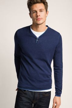 edc - fine-knit Henley in 100% cotton at our Online Shop