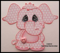 Pink Baby Elephant paper piecing, die cut, embellishment. Created by Paper Piecing Memories by Babs  https://www.etsy.com/listing/471215835/baby-elephant-girl-premade-paper-piecing?ref=listing-shop-header-2