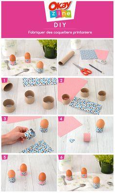DIY : jolis coquetiers printaniers de Pâques réalisés avec des rouleaux d'essuie-tout #okayzine #diy #paques #essuietout #diyfacile