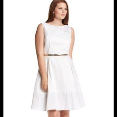 NWT Calvin Klein white eyelet dress plus size in white Boatneck Eyelet lace yoke at neck Sleeveless Hidden back zipper closure Removable goldtone waist belt Eyelet detailed hem band Lined Dry clean Polyester / spandex Imported Calvin Klein Dresses Midi