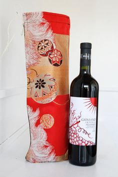 RESERVED FOR THERESE Japanese Vintage Obi Wine Bottle Holder Tote, Wine Gift Bag,Hostess Gift,Mother's Day Gift,Japanese Gift Packaging