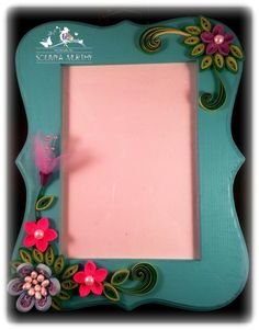 5x7 Quilled Photo Frame  Teal by smurthy on Etsy, $20.00
