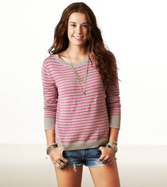 American Eagle Shoulder Zip Stripe #Sweater #stripes