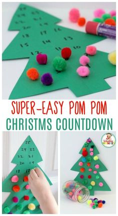 Looking for an advent calendar for kids? This pom pom Christmas tree advent calendar is super easy and makes a great Christmas craft for kids! (Christmas Art For Children) Christmas Activities For Kids, Preschool Christmas, Christmas Holidays, Christmas Ornaments, Christmas Art, Christmas Tables, Nordic Christmas, Reindeer Christmas, Christmas Stockings