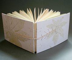 Love the elegant leaves and caterpillar stitch mix Handmade Notebook, Handmade Journals, Caterpillar Book, Paper Art, Paper Crafts, Homemade Books, Stitch Book, Bound Book, Book Binding