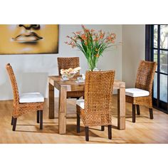 Pegasus Indoor 5 PC Rattan & Wicker Dining Set with Four Side Chairs & Square Base  in Natural Finish