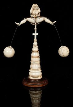 19TH CENTURY, NUN EROTIC BALANCING ACT FIGURE, CARVED IVORY