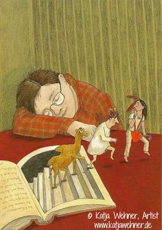 Postcard BE-20618 © Katja WEHNER (Artist, Germany) from glashelder (Scanner. Brugge, Belgium) via Flickr.   Book characters escape for a little adventure of their own while their reader naps -pfb :-)  ... Don't pin the art & erase the artist. Give credit where due. Artists have to eat too. See: http://pinterest.com/picturebooklove/how-to-pin-responsibly/