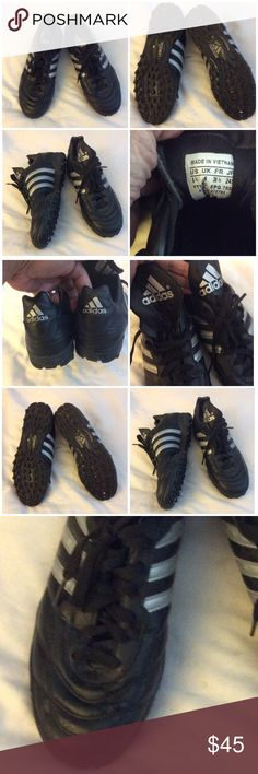 "Adidas Black Shoes SZ 6.5 Adidas Classic Black Leather gray Striped Shoes Sz 6.5 Black Sole  • Great Preloved Clean Condition- like NEW - hardly worn  • Keep in mind Adidas run large - measured bottom sole at approx 10.5"" - I wear a 7 to 7.5 or sometimes 8 & this fit me • Please review photos as this fully describes the item adidas Shoes"