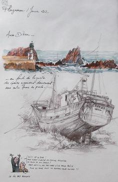 sketches of love Watercolor Sketchbook, Art Sketchbook, Watercolor And Ink, Watercolor Illustration, Photo Bretagne, Travel Sketchbook, Art Drawings Beautiful, Humor Grafico, Sketchbook Inspiration