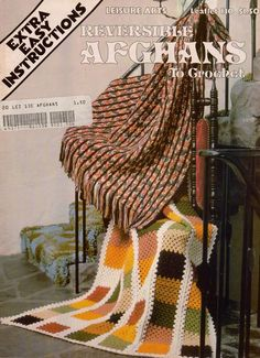 Leisure Arts 130 Reversible Afghans Crochet Patterns Extra Easy Granny 1978 #LeisureArts #CrochetPatterns