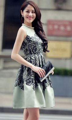 31acb7a695c3 Different Green O-Neck Printed Sleeveless A-Line Dress 03