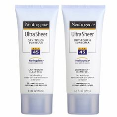 Neutrogena Ultra Sheer Dry-Touch Sunblock absorbs so fast and doesn't leave skin greasy.
