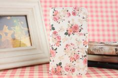 New Pink Flower Leather Full Cover Case For LG HTC huawei Various mobile phones