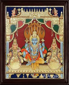 Traditional Handmade Vaikundanathan Tanjore Painting (Vishnu with Sree Devi and Boo Devi) crafted on plywood with 22 carat gold foil, semi-precious stones, paints and framed with best Teak Wood. Lord Ganesha Paintings, Lord Shiva Painting, Krishna Painting, Krishna Art, Krishna Images, Lord Krishna, Krishna Leela, Shiva Art, Mysore Painting