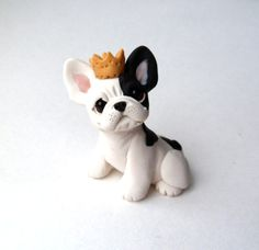 Royal French Bulldog Sculpture Polymer Clay Mini by Raquel at theWRC Dog Collectible Polymer Clay Cat, Polymer Clay Projects, Polymer Clay Charms, Fondant Flower Tutorial, Dog Cake Topper, Clay Cats, Cute French Bulldog, Clay Figurine, Cute Disney Wallpaper