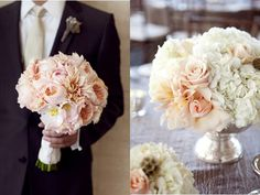 romantic blush pink roses , cafe au lait dahlias,creamy hydrangea pair beautifully with mercury glass