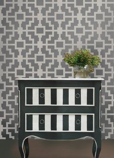 Geometric Stencil Shipibo - Reusable stencils for walls instead of wallpaper