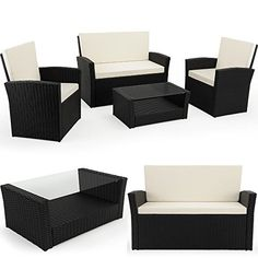 Poly Rattan Garden Furniture Lounge Outdoor Patio 4-Seater Modular Set with Coffee Table Black Conservatory