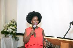 Karen Tappin of Karen Body Beautiful given her acceptance speech at the Natural Aristocratic Tea.
