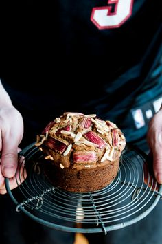 almond rhubarb cake.