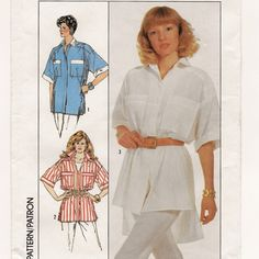 Simplicity 8129, A Very Loose-Fitting, Short Sleeve, Collared Shirt with Hi-Lo Hemline Variation Pattern  by So Sew Some!