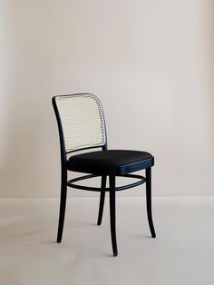 Chair No 811 Black Frame - Cane Backseat - Black Leather Seat Yellow Dining Chairs, Black Leather Dining Chairs, Dinning Chairs, Living Room Chairs, Rattan Chairs, White Chairs, Ton Chair, Second Hand Chairs, Cool Furniture