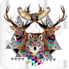 owl stag wolf geometric
